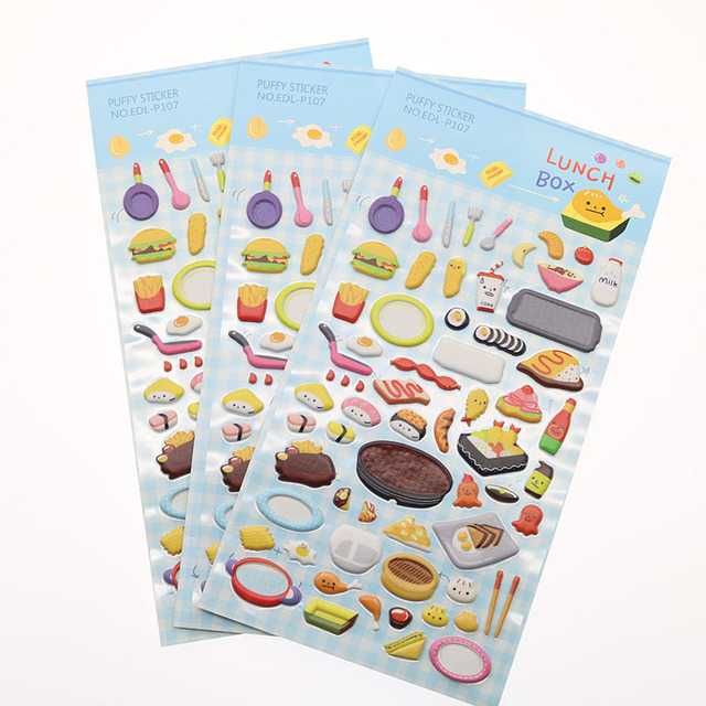 3 Piece / Lunch Gourmet Kitchen Tool Stereo Bubble Stick Diary Decoration  Notebook Sticker