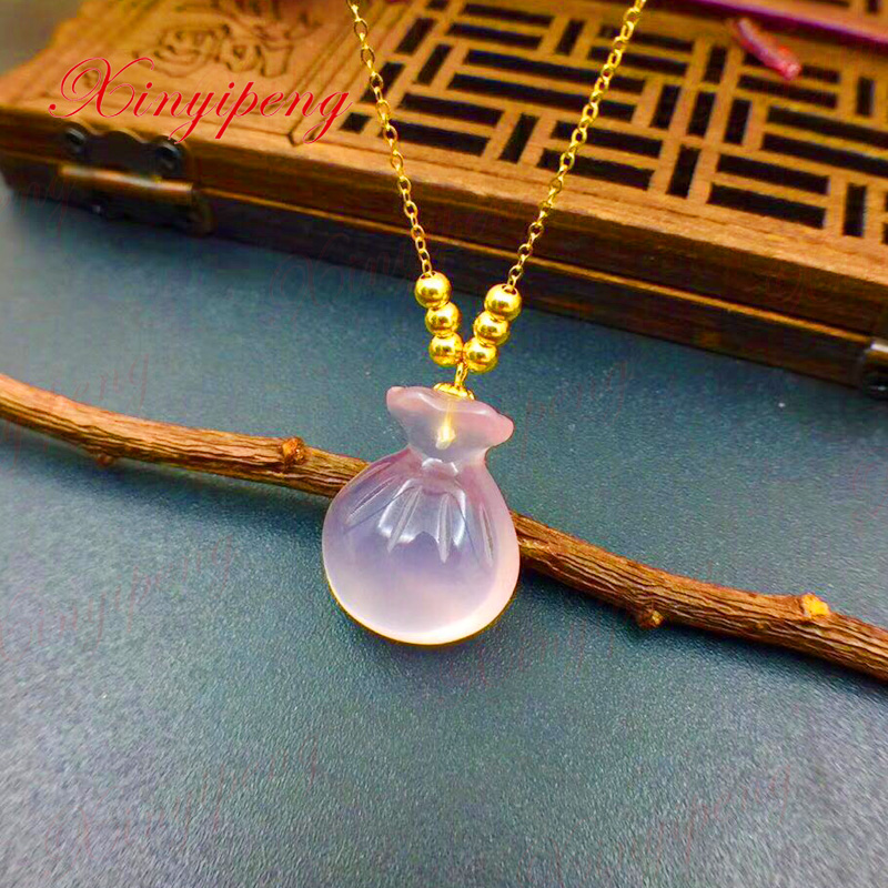 Xin yi peng 18 k yellow gold inlaid natural powder crystal rose quartz necklace pendant, women necklace, fashionable women s sexy style necklace w crystal inlaid golden