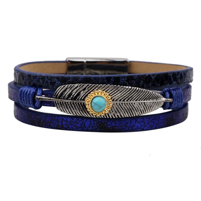 2016 Femmes De Mode À La Main Alliage Plume Feuilles Multicouche Large  Magnétique En Cuir Bracelets   bangles Bracelets Bijoux Femenino 82bf7fe5c5b