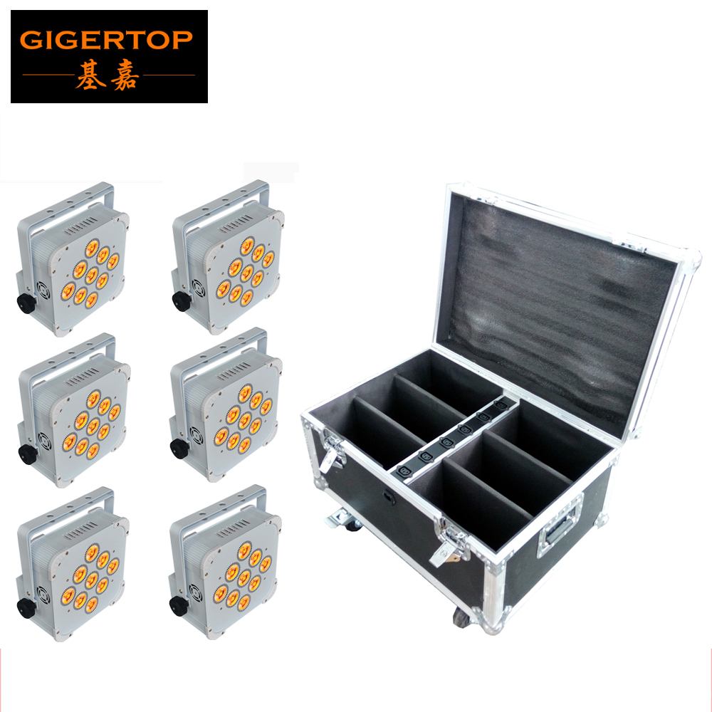 TIPTOP 6XLot 9*18W 6in1 RGBWA UV Battery Wireless LED Par Light DMX512 Flat Led Par Rechargeable Flight case 6in1 White Case freeshipping 10in1 charging flightcase packing 12 18w stage wireless battery flat led par light rgbaw uv 6in1 uplighting par can