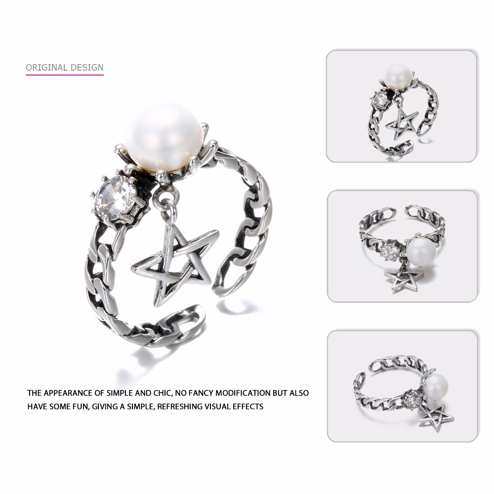 Say You Say Me 925 Sterling Silver Star Chain Rings Zircon Freshwater Pearl Rings Wedding&Engagement Wholesale New Arrival
