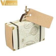 10 Uds. Caja de dulces de la maleta del Favor de la boda de la vendimia Mini cajas de Chocolate bolsas dulces para los favores de la boda y la decoración de los regalos