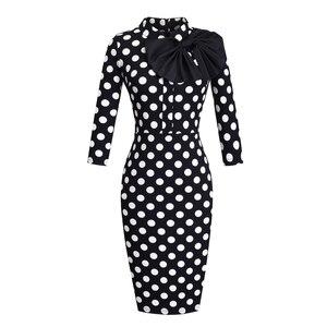 Image 2 - נחמד לנצח בציר אלגנטי פרחוני עם שחור Bow לעבוד vestidos משרד עסקי המפלגה Bodycon נשים נדן שמלת btyB244