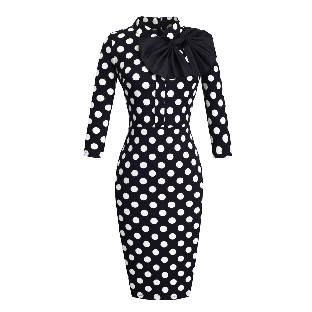 Image 3 - Nice forever Vintage Elegant Floral with Black Bow Work  vestidos Office Business Party Bodycon Women Sheath Dress btyB244Dresses   -
