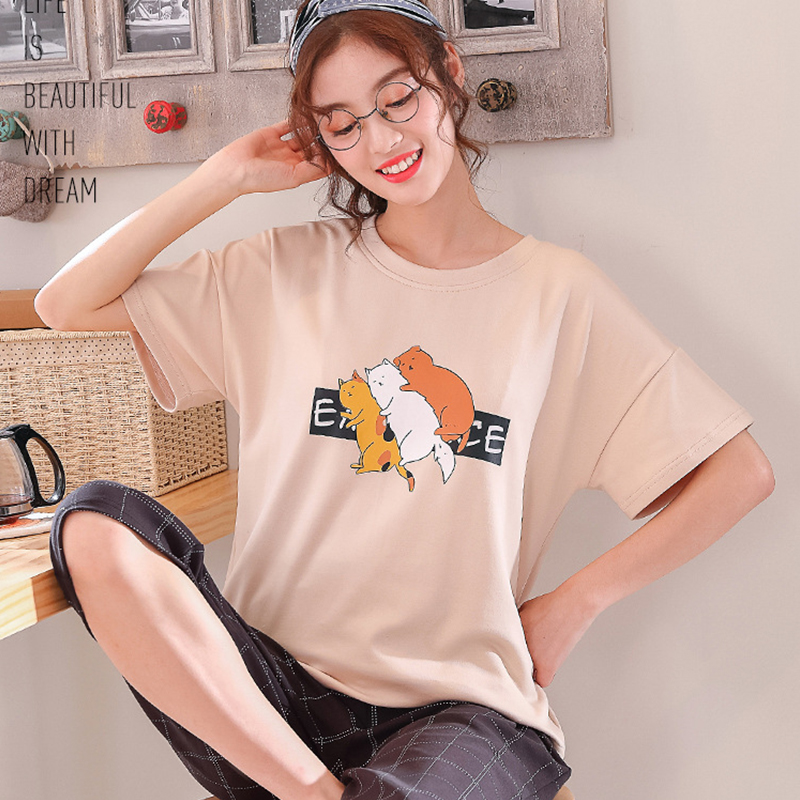XCAMP Women Sleepwear Summer Clothes For Women Pajamas Set Calf- Length Pants Cotton Print Casual Style Women Nightgown 36