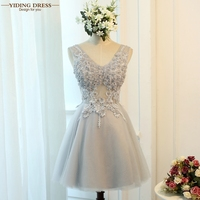 Cocktail Dresses 2016 Gray Color V Neck FLowers Crystal Cocktail Party Dress