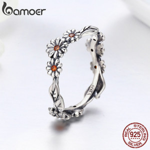Image 5 - BAMOER Hot Sale 100% 925 Sterling Silver Twisted Daisy Flower Female Finger Rings for Women Wedding Silver Jewelry Anel SCR298