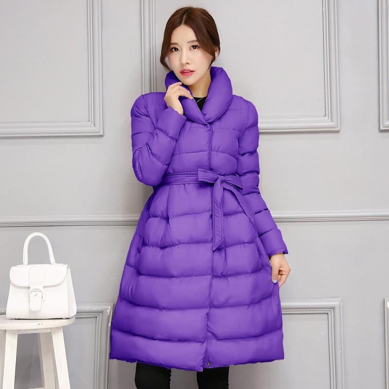 New Winter Jacket Women Thick Warm Outerwear Casual   Parka   Jacket Cotton Elegant Fashion High Quality Loose Jacket Coat Belt Q426