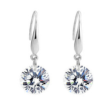 100% Real 925 Sterling Silver Drop Earrings With 8mm Fashion Silver Jewelry YH1063