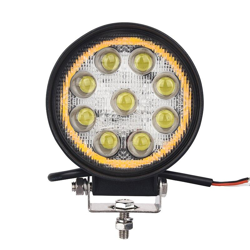 La ryanes 12 В 24 В круглый светодиодный Подсветка с янтарем и белый Цвет 4.5 дюймов 27 Вт светодиодный light Off Road Грузовик ATV светодиодный фонарь