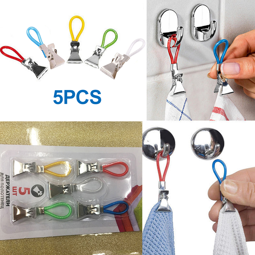 5pcs/lot Tea Towels Hanging Clips Storage Hangers Rack On Hooks Loops Hand Towel Hanging Clips For Kitchen Bathroom Beach Tools