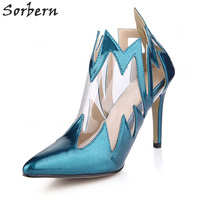 Sorbern Peacock Party Shoes High Heels Ladies Dark Blue Shoes Women Pvc Top Shoes 2018 Spike Heels Women Pump Shoes Size 11