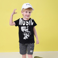Summer New Boys Clothes Sets Cotton Cartoon Letter Printing T shirt Stripe Shorts 2 Piece Set Casual Little Boys Clotheing Sets