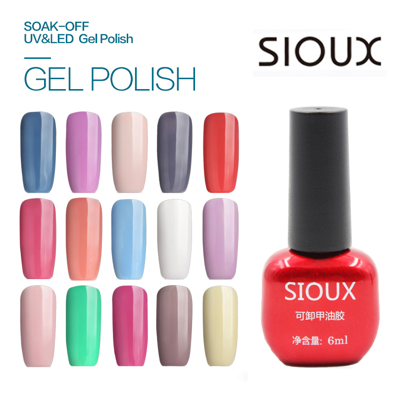 1-24 SIOUX 6 ml UV Gel Nail Polish Lámpara LED de larga duración Soak Off Barato Gelpolish Vernis Top Coat Glue 108 Color SI03