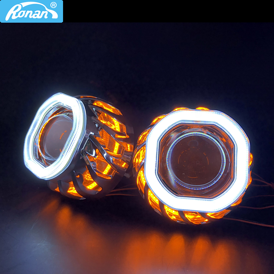 RONAN Square Spiral Double COB Angel Eyes Bi-xenon Projector Headlight Lens Use Bulb H1 With H4 H7 Adapter Car Styling