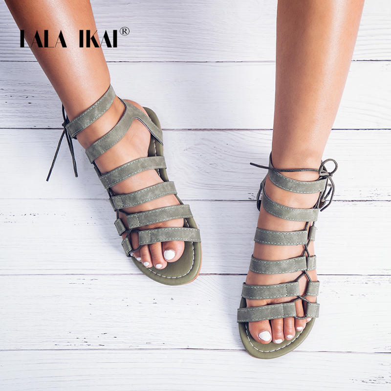 LALA IKAI Gladiator Sandals Ankle Strap Women Sandals Lace Up Woman Beach Flat S