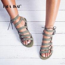 LALA IKAI Gladiator Sandals Ankle Strap Women Sandals Lace U