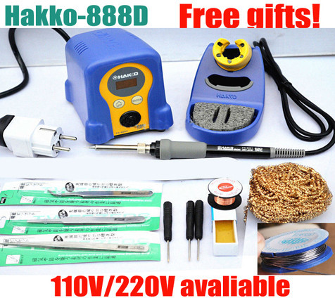 high quality EU plug High quality HAKKO FX-888 FX-888D Digital Soldering Station/Solder Soldering Iron 70W 110V/220V Many gifts dhl free shipping hot sale 220v hakko fx 888 fx888 888 solder soldering iron station with 10 free tips 900m t