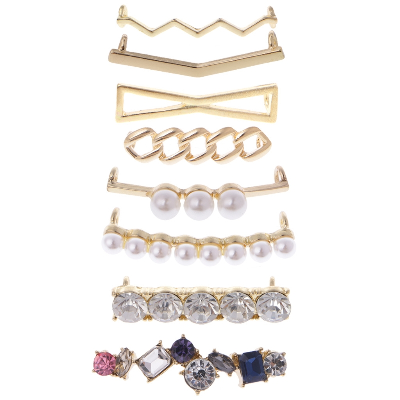 цена на EYKOSI Shoelaces Clips Decorations Charms Faux Pearl Rhinestone Shoes Accessories Gifts Fashion Mini Alloy+Acrylic shoe Clips