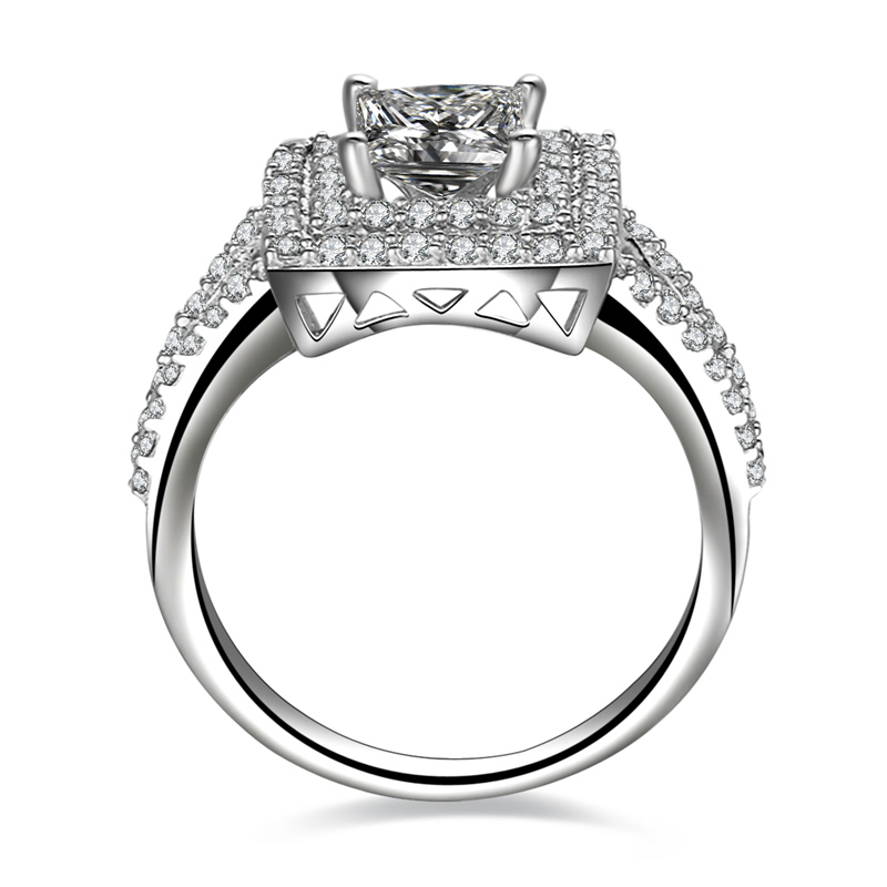 AINUOSHI Big Luxury Wedding Halo Ring 1 Carat Princess Cut Engagement Bijoux Femme for Women 925 Sterling Silver Promise Ring