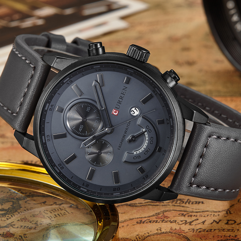 New Relogio Masculino Curren Quartz Watch Men Top Brand Luxury Leather Mens Watches Fashion Casual Sport Clock Men Wristwatches(China)