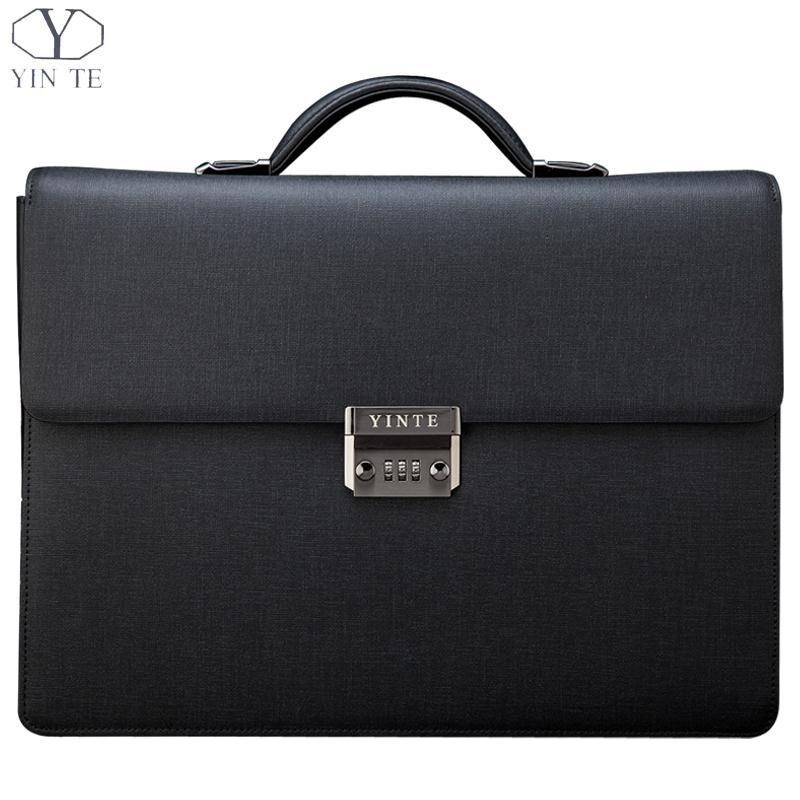 YINTE Leather Business Men's Briefcases Men's Black Briefcase Business Handbag Lawyer Bag Briefcase Portfolio 15inch T8032-5 цена и фото