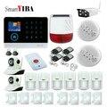 SmartYIBA Бесплатная доставка WiFi GSM RFID система охранной сигнализации Солнечная Сирена IP камера ISO Android App детектор дыма