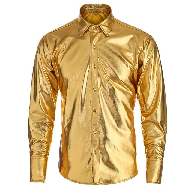 MORUANCLE Fashion Mens Coated Metallic Shirts Shinny Long Sleeve Dress Shirts Night Club Wear Gold Silver Button Down Punk Style