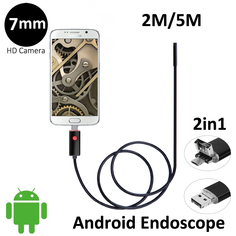 2In1 OTG USB Android Endoscope Camera 7mm Lens 2M 5M Flexible OTG USB Snake Camera Android Phone PC 2in1 USB Borescope Camera 2018 newest 4 9mm lens medical endoscope camera for otg android phone pc usb borescope inspection otoscope camera for ear nose