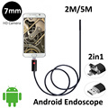 2In1 OTG USB Android Endoscope Camera 7mm Lens 2M 5M Flexible OTG USB Snake Camera Android Phone PC 2in1 USB Borescope Camera