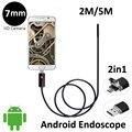 2em1 USB OTG Android Endoscópio Câmera Lente de 7mm 2 M 5 M Flexível OTG USB Cobra Câmera Android Phone PC 2em1 USB Câmera Borescope