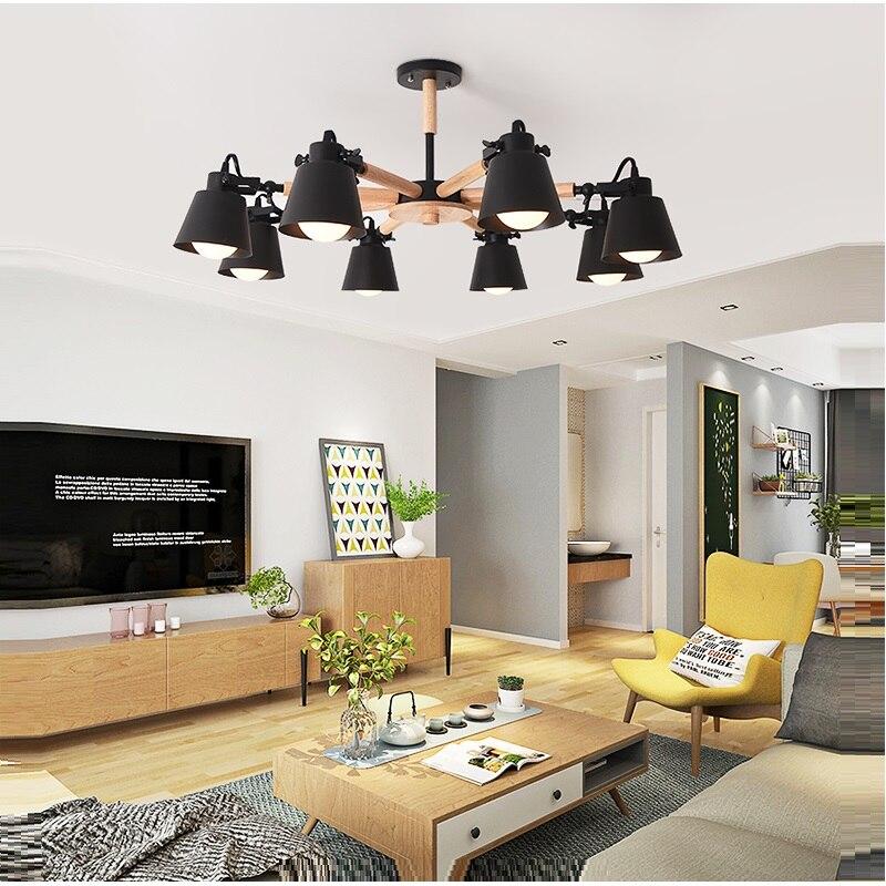 Image 4 - New Arrive Nordic Chandelier E27  Modern Living Room chandeliers Suspension Lighting Fixtures Lam paras  Wooden Chandelier light-in Chandeliers from Lights & Lighting