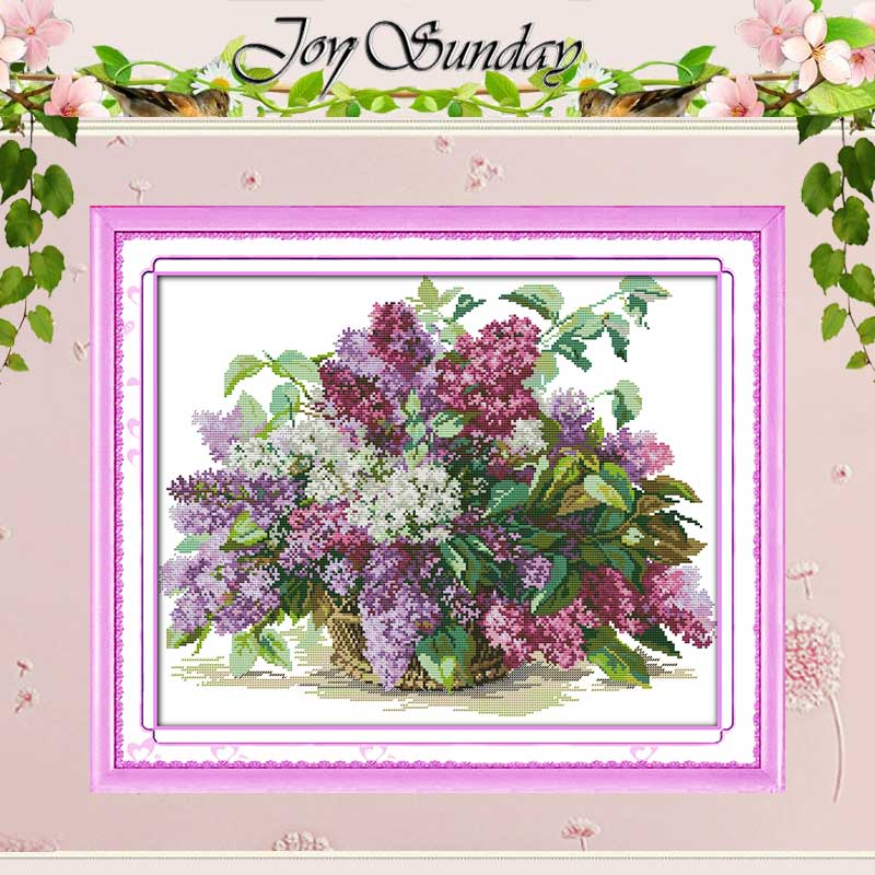 Kapal Percuma !! Lilac Dihitung Cross Stitch 11 14CT Cross Stitch Set Bunga Cross Stitch Kit untuk Embroidery Home Decor Needlework