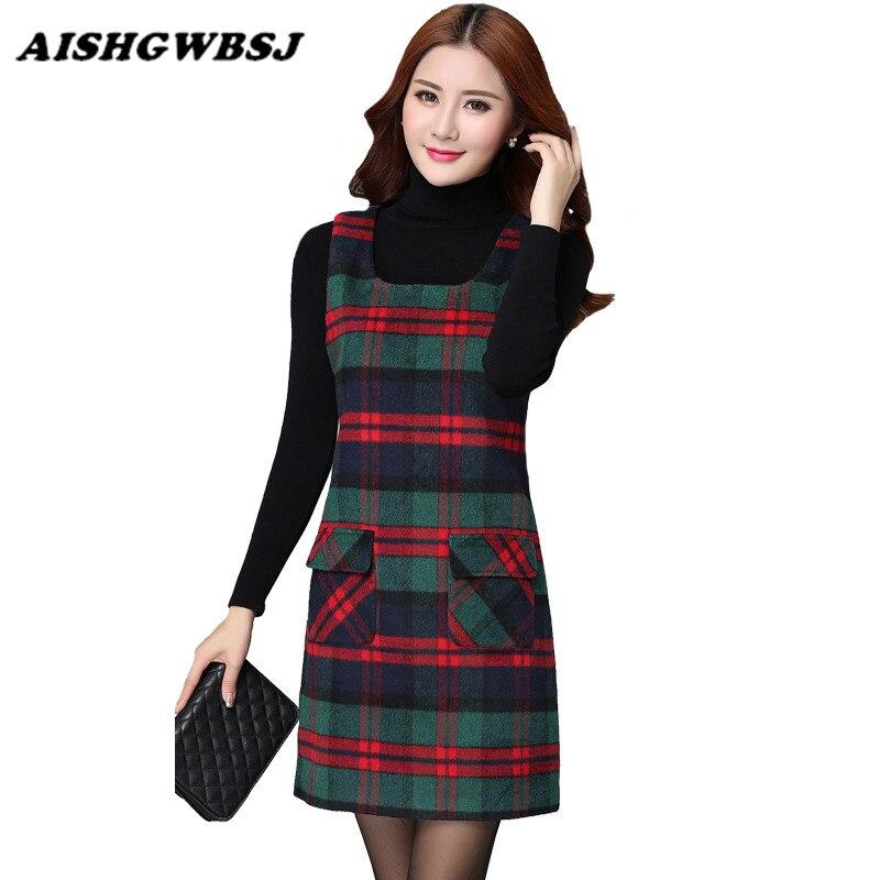 AISHGWBSJ Autumn winter dress Warm Plaid High sexy Dress Women O Neck Outfit One Piece Dress Spaghetti Strap Dresses QYX169