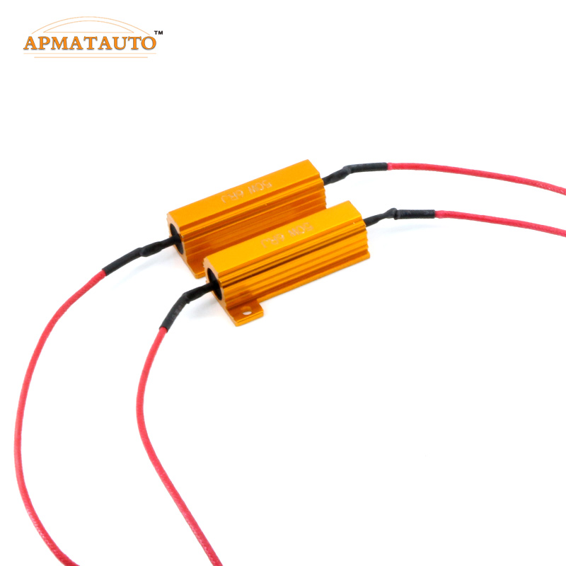 2pcs H1 H3.H4,H7,H8 H11 9006 HB4 9005 HB3 LED HeadLight Fog Light No Error Canbus 50W Load Resistor Wiring Canceller Decoder 1157 bay15d led decoder light bulb warning canceller error free load resistor adapter