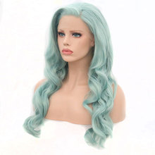 Bombshell Blue Green Body Wave Synthetic Lace Front Wigs Glueless Heat Resistant Fiber Hair Natural Hairline Side Part For Women
