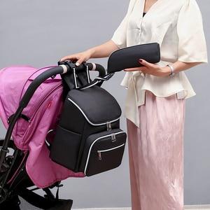 Image 3 - متعددة الوظائف موضة USB حقيبة المومياء خارج حقيبة ظهر للحفاضات المحمولة الجديدة حقيبة الأمومة حقائب رضع للأم حقيبة عربة أطفال