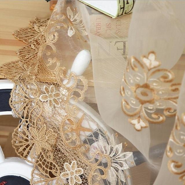 Di lusso Ricamato Puro Voile Tende Finestra Tende Cortina per Porta del Soggiorn