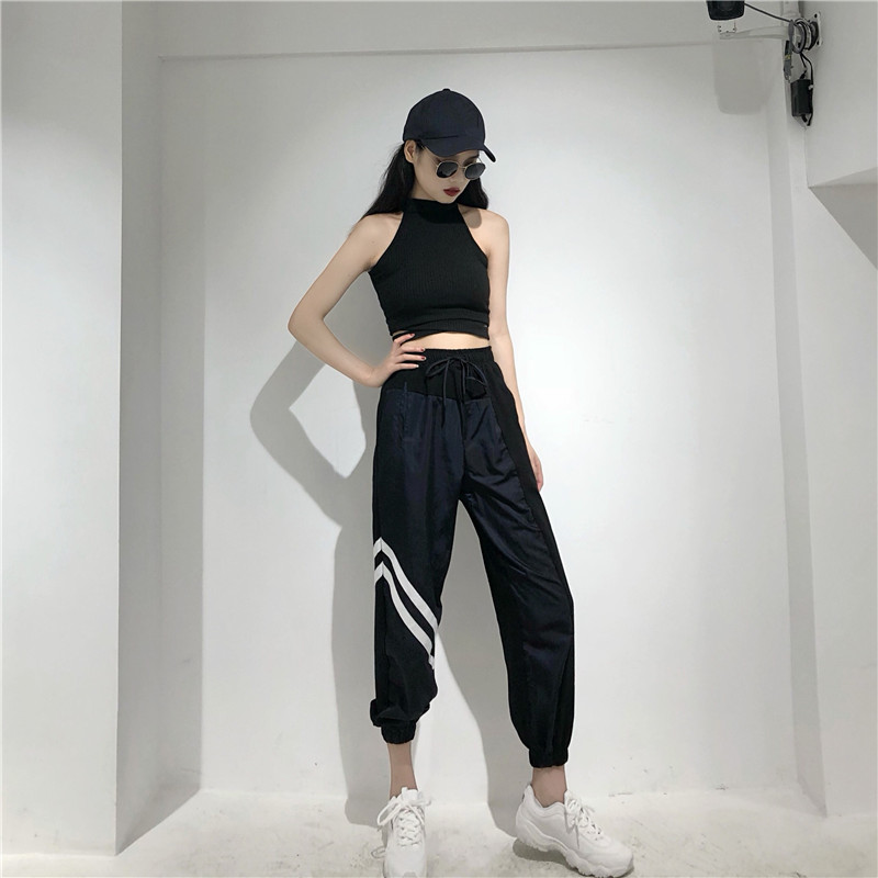 Women's Sets summer new black fashion sexy wild hanging neck vest + high waist loose harem pants two sets of women 1