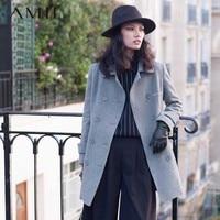 Amii Casual Women Woolen Coat 2017 Winter Double Breasted Turn Down Collar Slim Female Wool Blends