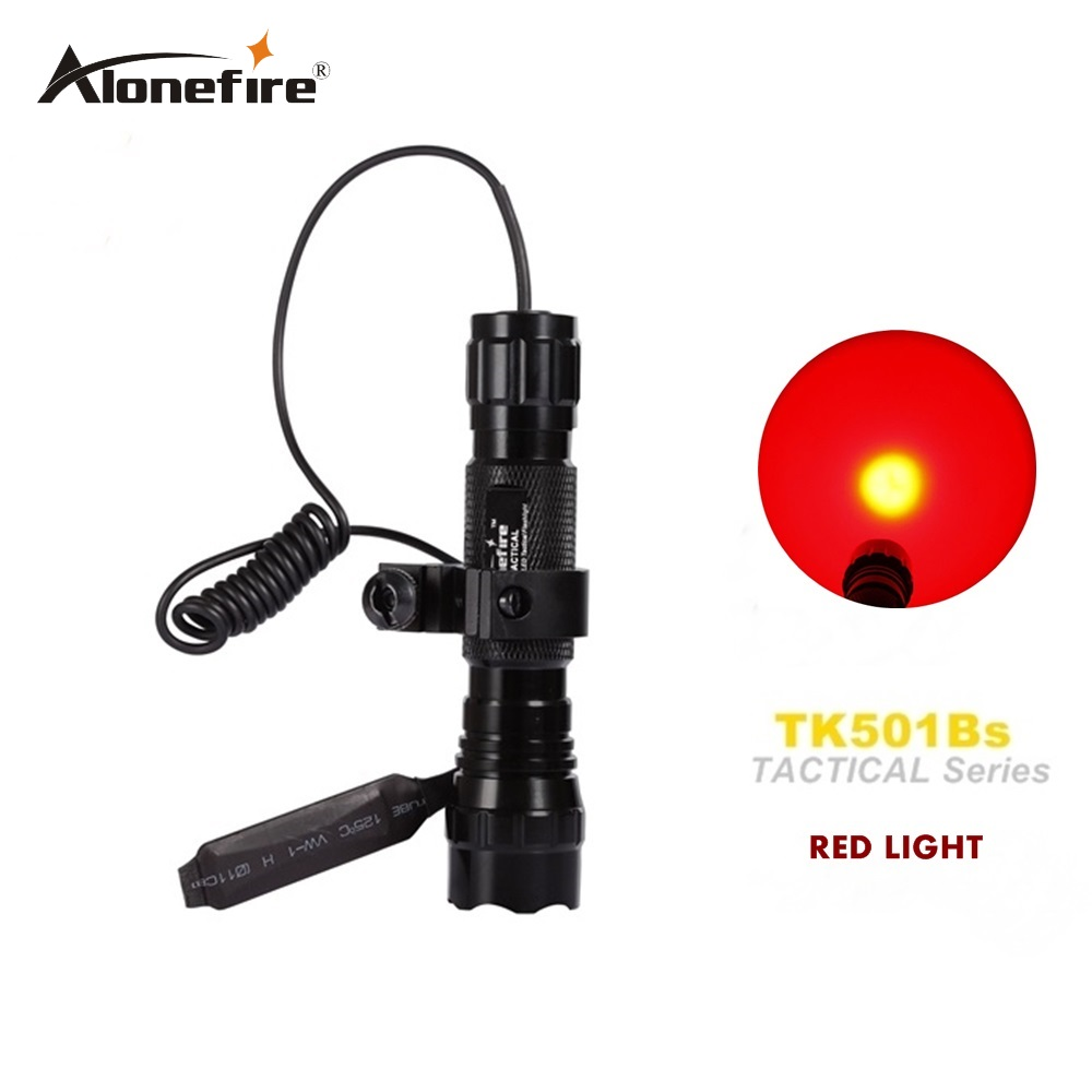 Alonefire 전술적 인 손전등은 붉은 빛 501B 사냥 토치 스포트 라이트 샷 총 조명 + 택트 마운트 + 원격 스위치를 이끌었다