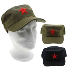 все цены на Fashion 1Pcs Cotton Fabric Adjustable Casual China Green Flat Hats Hot Red Star Unisex Retro Chinese Patrol Army Cap Gifts