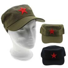 Moda 1 szt. Tkanina bawełniana regulowana na co dzień chiny zielone płaskie czapki gorąca czerwona gwiazda Unisex Retro chiński Patrol czapka wojskowa prezenty