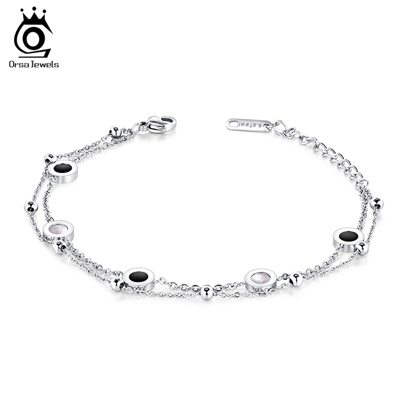 ORSA JEWELS Women Stainless Steel Bracelets Rose Gold and Silver Color Charms Lobster Bracelet Chain Jewelry For Female JTB62 цена