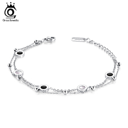 ORSA JEWELS Women Stainless Steel Bracelets Rose Gold and Silver Color Charms Lobster Bracelet Chain Jewelry For Female JTB62