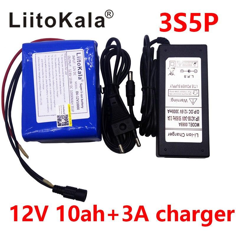Liitokala большой емкости 12 В 10ah 18650 литиевая батарея охраны доска 12.6 В 10000 мАч емкость + 12 В 3A батареи зарядное устройство