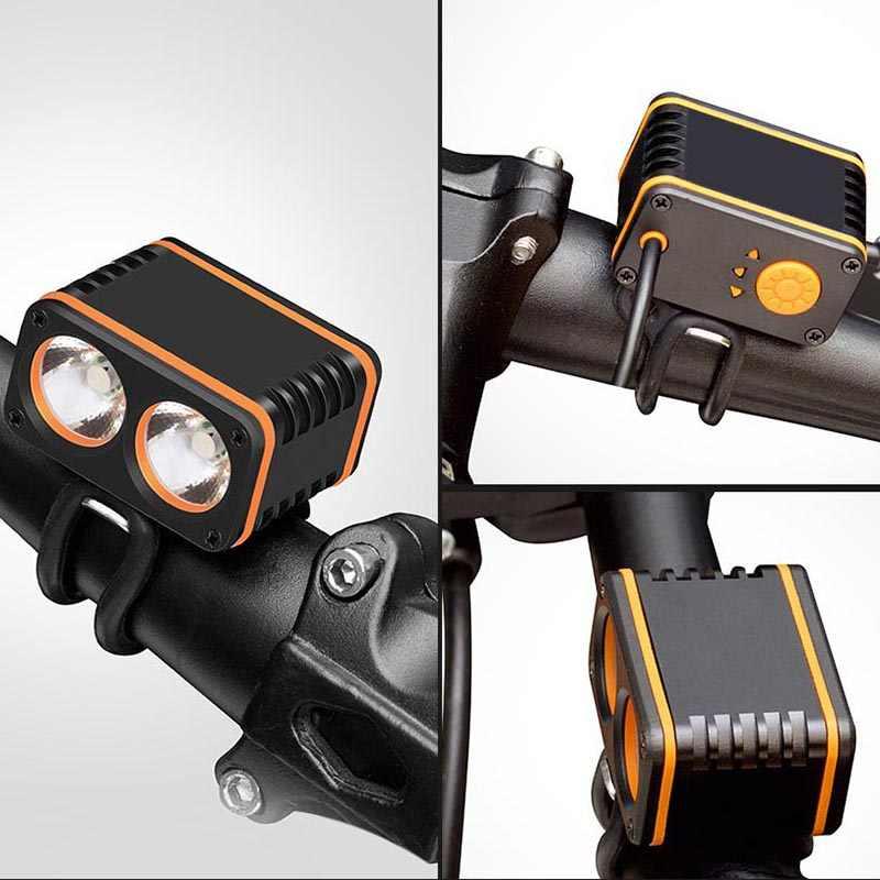 USB bisiklet ışığı 2xT6 800LM 4 modu led bisiklet Usb bisiklet Far 2 * O'rings (Pil Yok)