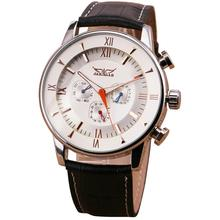 New Men s Automatic Mechanical Wristwatch Passion Contrast Color Genuine Leather Strap Complex 6 Hand 3