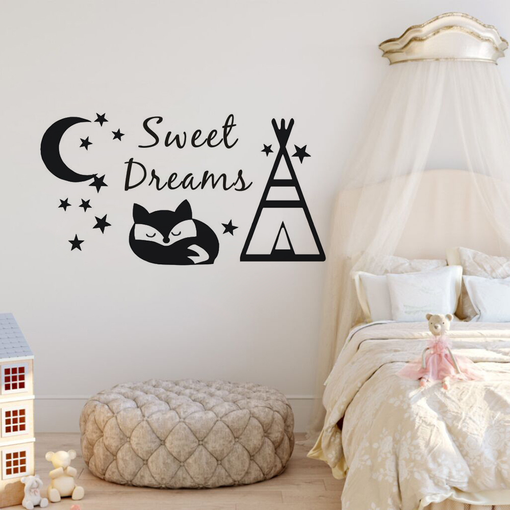 Home & Garden Wall Stickers Sweet Dreams Wall Decal Teepee And Fox Wall Sticker Diy Pattern Kids Room Decor Moon And Stars Design Vinyl Wall Murals Ay1610 Save 50-70%