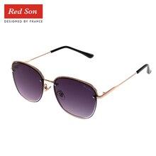 Red Son Golden Frame Semi-Rimless Sunglasses Women Polarized Classic eyewear Photochromic Gradient Goggles UV400 все цены